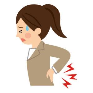 仕事で腰が痛い女性のイラスト